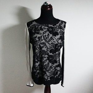 Ann Taylor Petite Black and Cream Lace Top